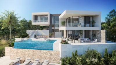 New build detached contemporary style villa with sea views at La Cala Golf