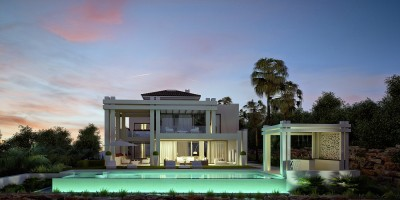 Luxury contemporary villa with 5 en-suite bedrooms overlooking los Flamingos Golf