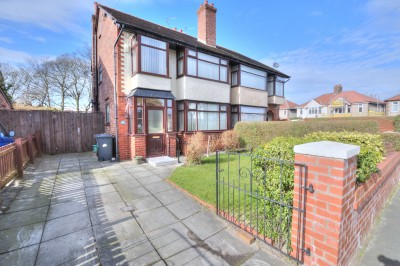 Strathmore Drive, Crosby, semi detached family house, large rear garden, driveway, garage, no chain, some updating required, close to local schools.