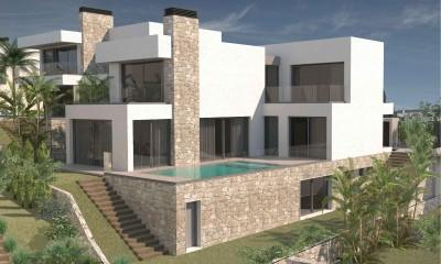 Nieuw gebouwde villa in moderne stijl met 4/5 slaapkamers en uitzicht op zee vlakbij het strand van Las Farolas Mijas Costa