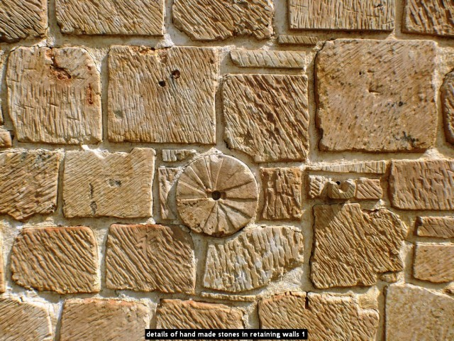 details of hand made stones in retaining walls 1