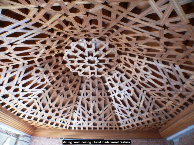 dining room ceiling - hand made wood feature