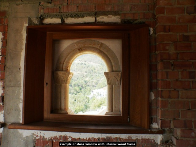 example of stone window with internal wood frame