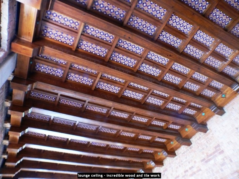 lounge ceiling - incredible wood and tile work