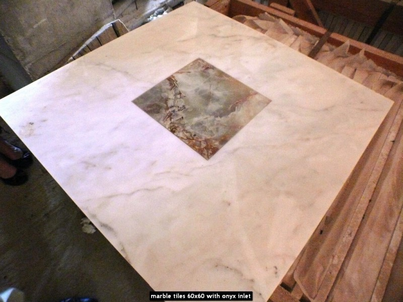 marble tiles 60x60 with onyx inlet