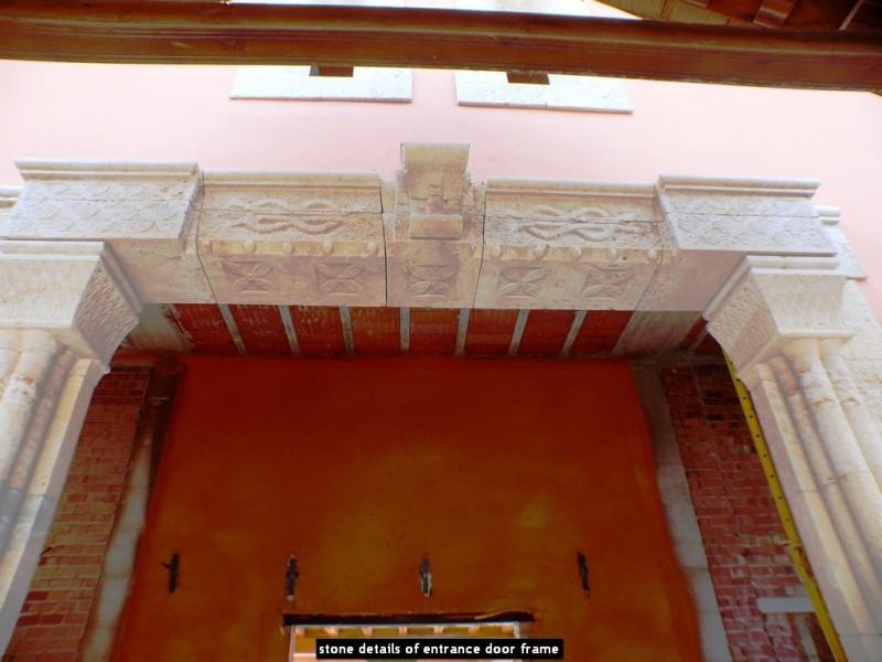 stone details of entrance door frame