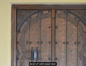 detail of solid wood door