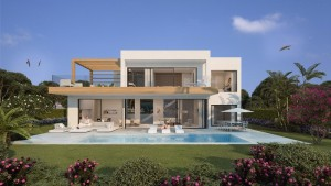 New 3- 4  bedroom contemporary villa designed by award winning team, for sale in Atalaya, Estepona with private pool and sea views