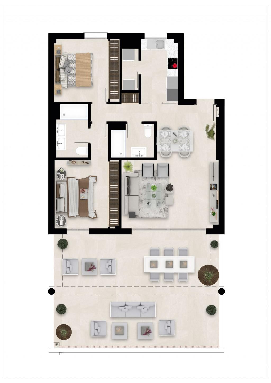 Golfovy apartman pudorys 2 loznice