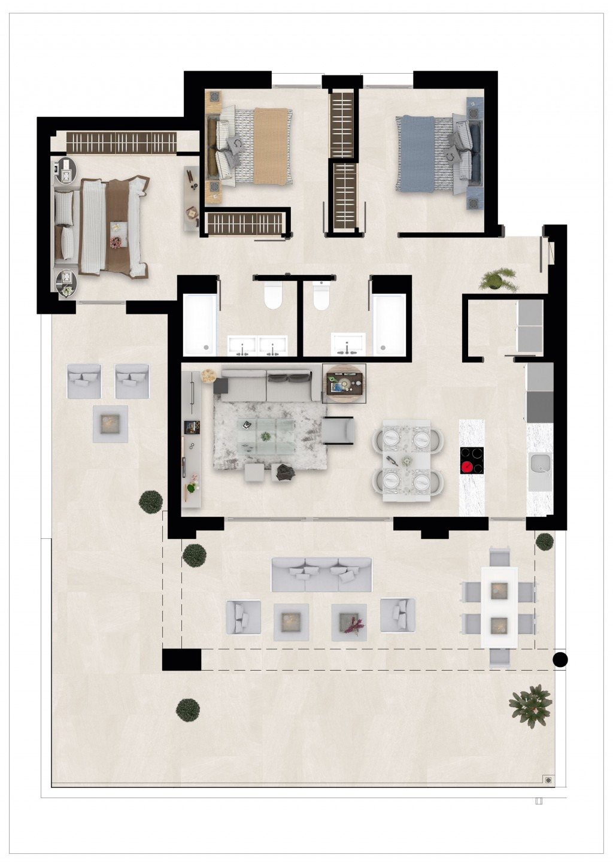 Golfovy apartman pudorys prizemi 3 loznice