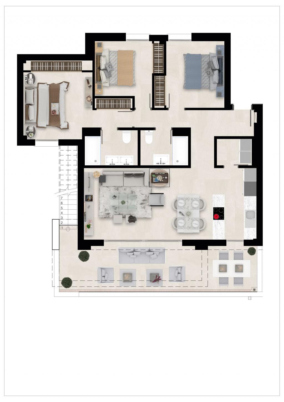 Golfovy apartman pudorys penthouse 3 loznice spodni patro