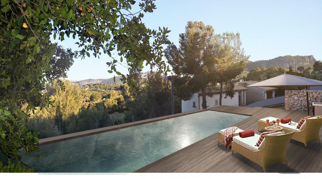 polencia render, pool view, wood terrace, wood pool side