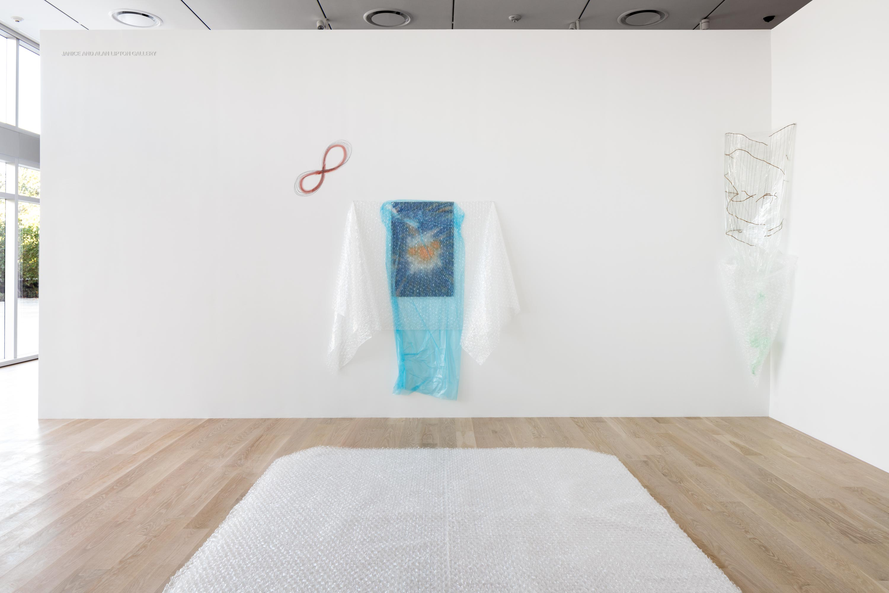 Installation view of Senga Nengudi: Wet Night—Early Dawn—Scat Chat—Pilgrim's Song, 1996/2007 at Institute of Contemporary Art, Miami