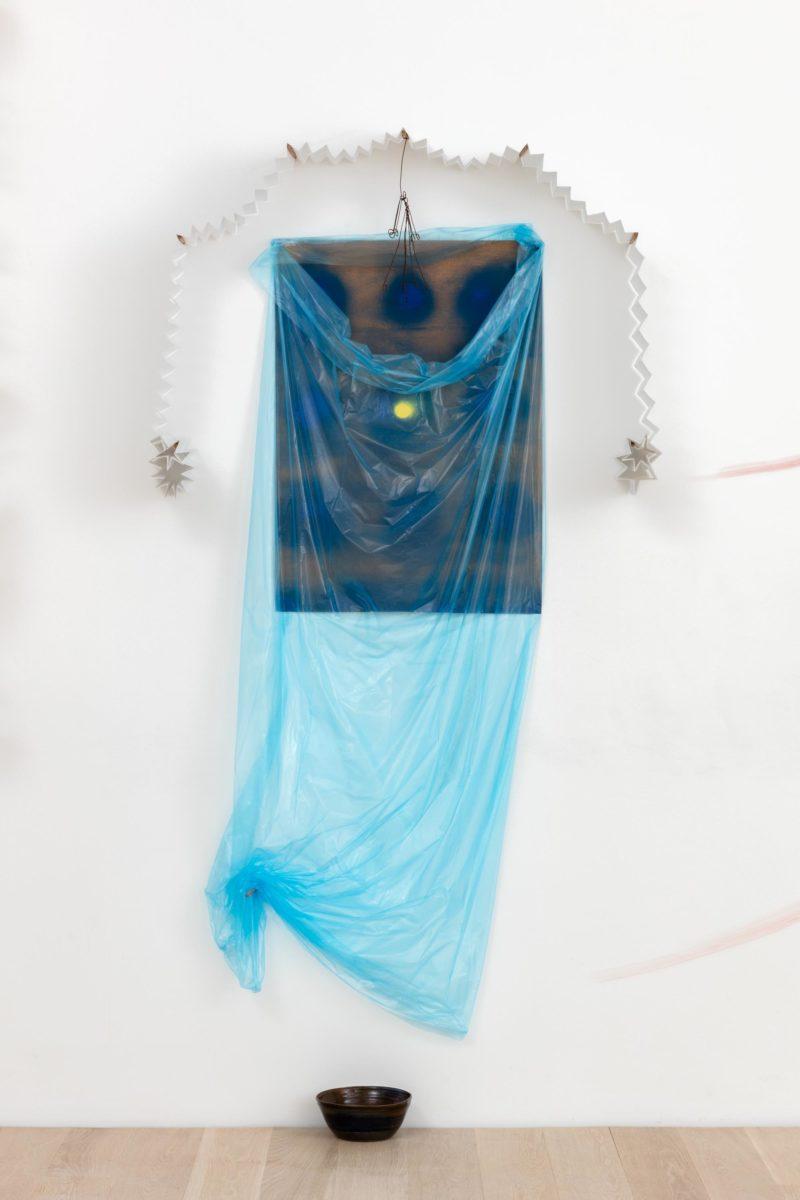 Installation view of Senga Nengudi: Wet Night—Early Dawn—Scat Chat—Pilgrim's Song, 1996/2007 (Institute of Contemporary Art, Miami, Dec 1, 2017 – Apr 10, 2018). Photo: Fredrik Nilsen Studio.