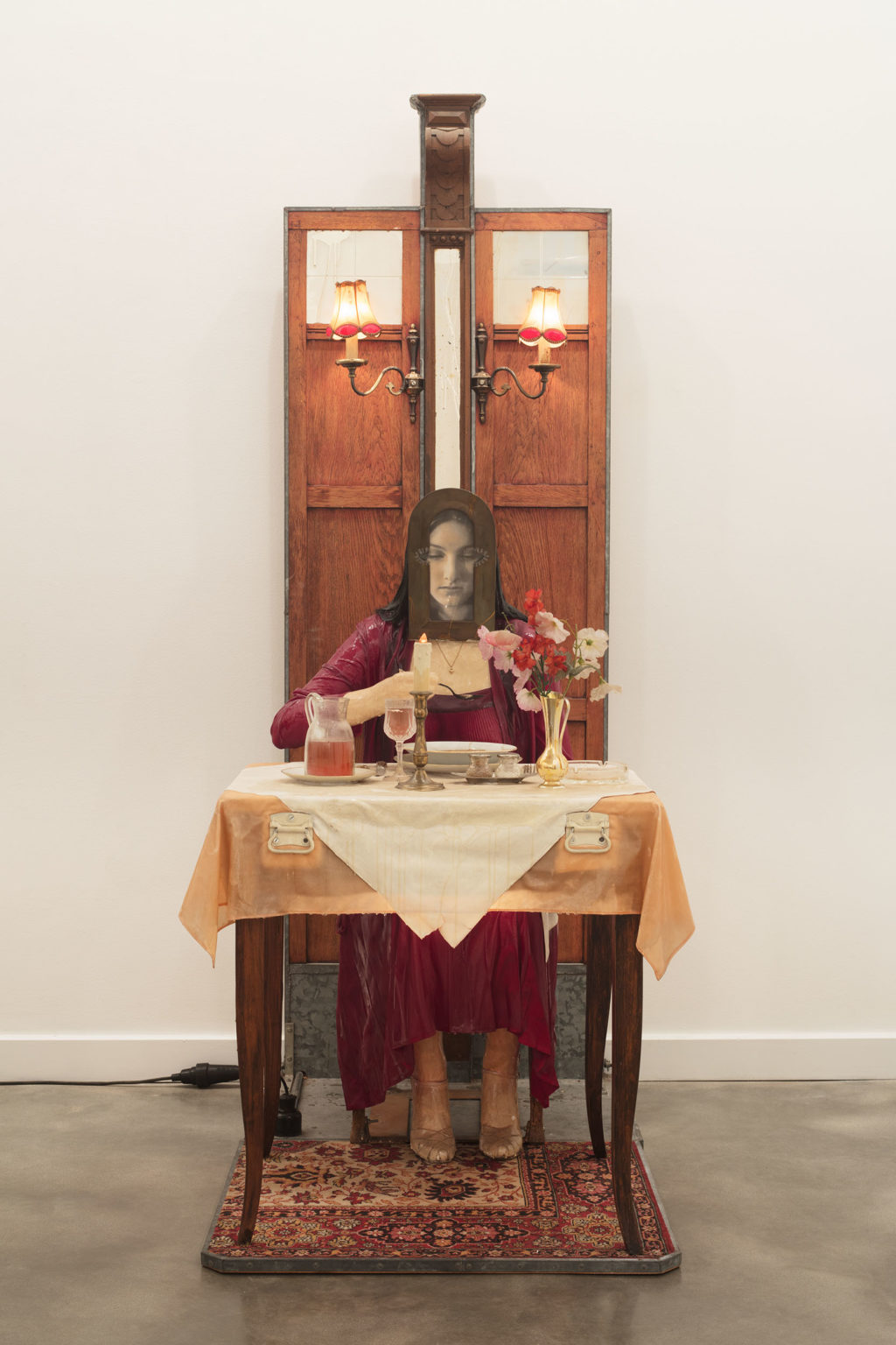Installation view of Edward and Nancy Kienholz, The Soup Course at the She-She Cafe, detail, 1982 at ICA Miami