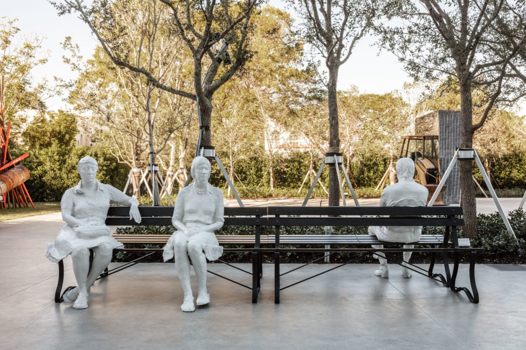 Installation view George Segal, Three Figures and Four Benches, 1979 at ICA Miami