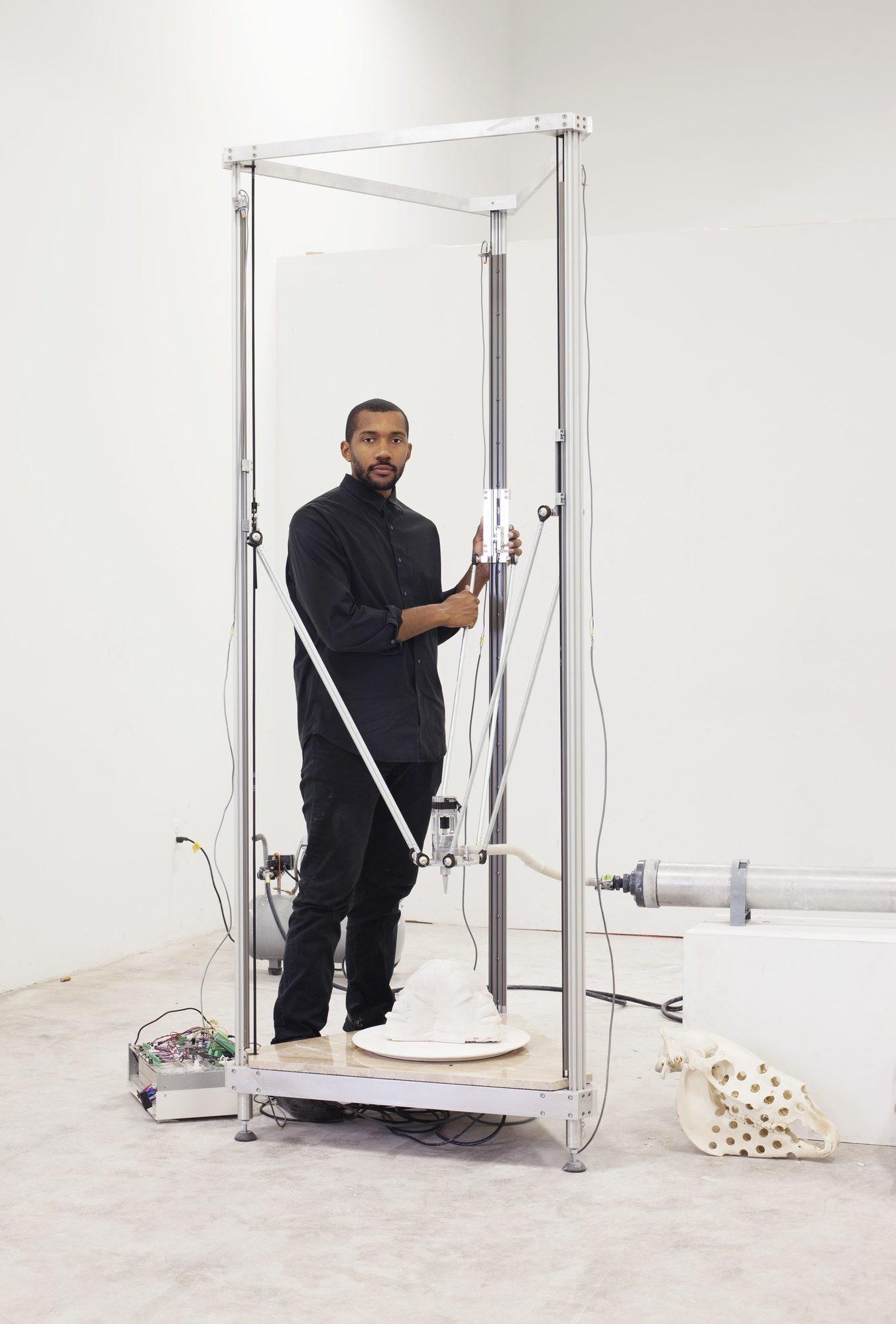 Matthew Angelo Harrison, in his Detroit studio. Photograph by Corine Vermeulen for W Magazine.
