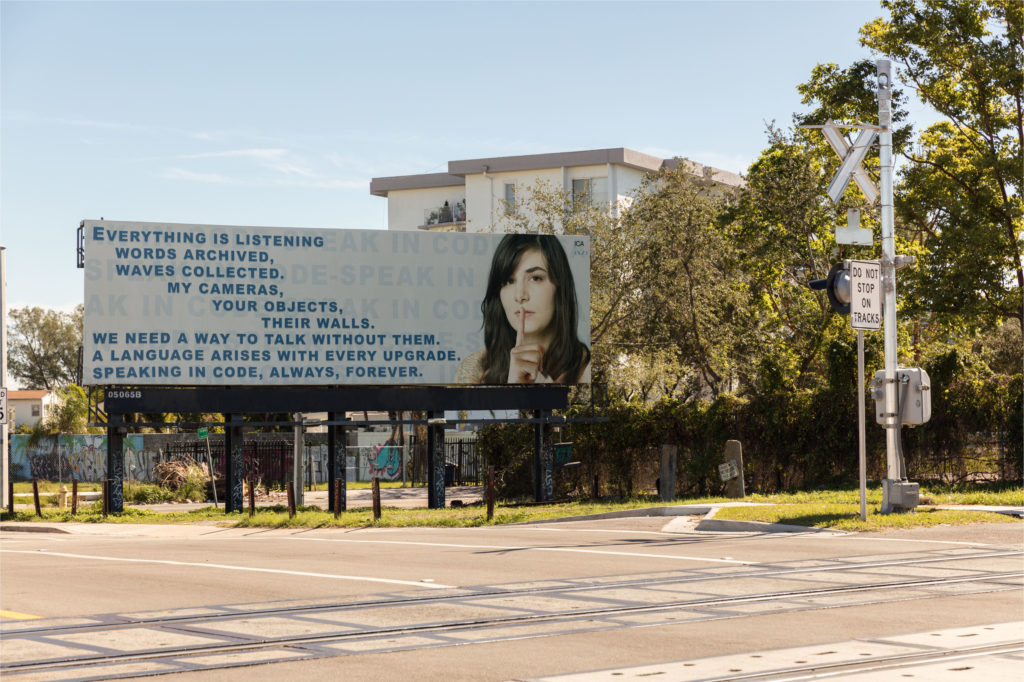 Installation view Jillian Mayer, Billboard for ICA Miami