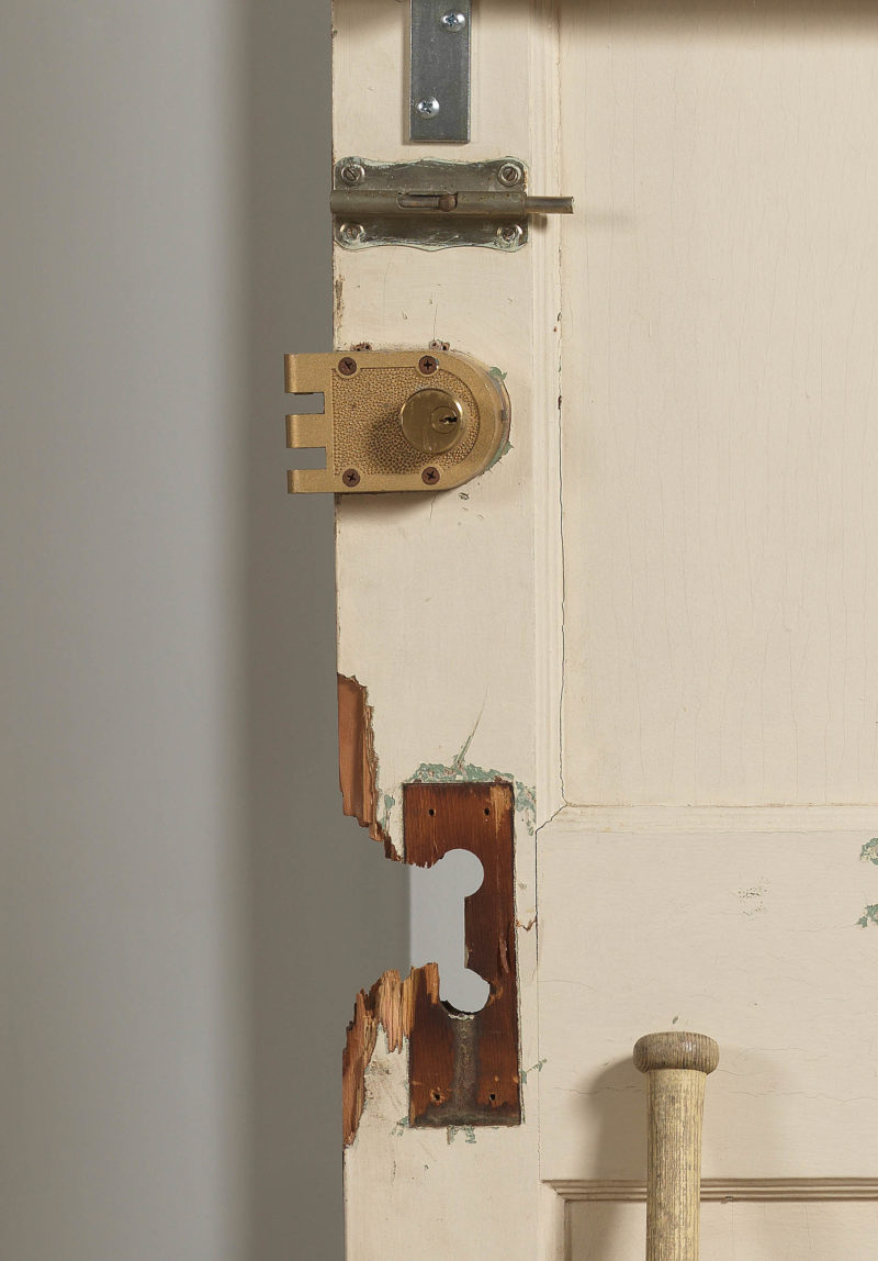 Diamond Stingily, Entryways, detail 2016. Door with locks, bat and wood. Courtesy the Artist and Ramiken Crucible, New York. Photo: Dario Lasagni.