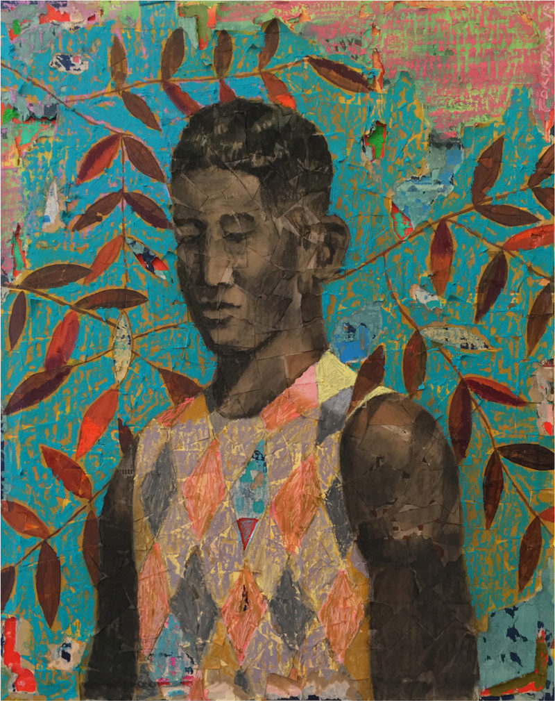 Derek Fordjour, No. 88, 2018. Acrylic, charcoal and oil pastel on newspaper mounted on canvas. Courtesy the artist.