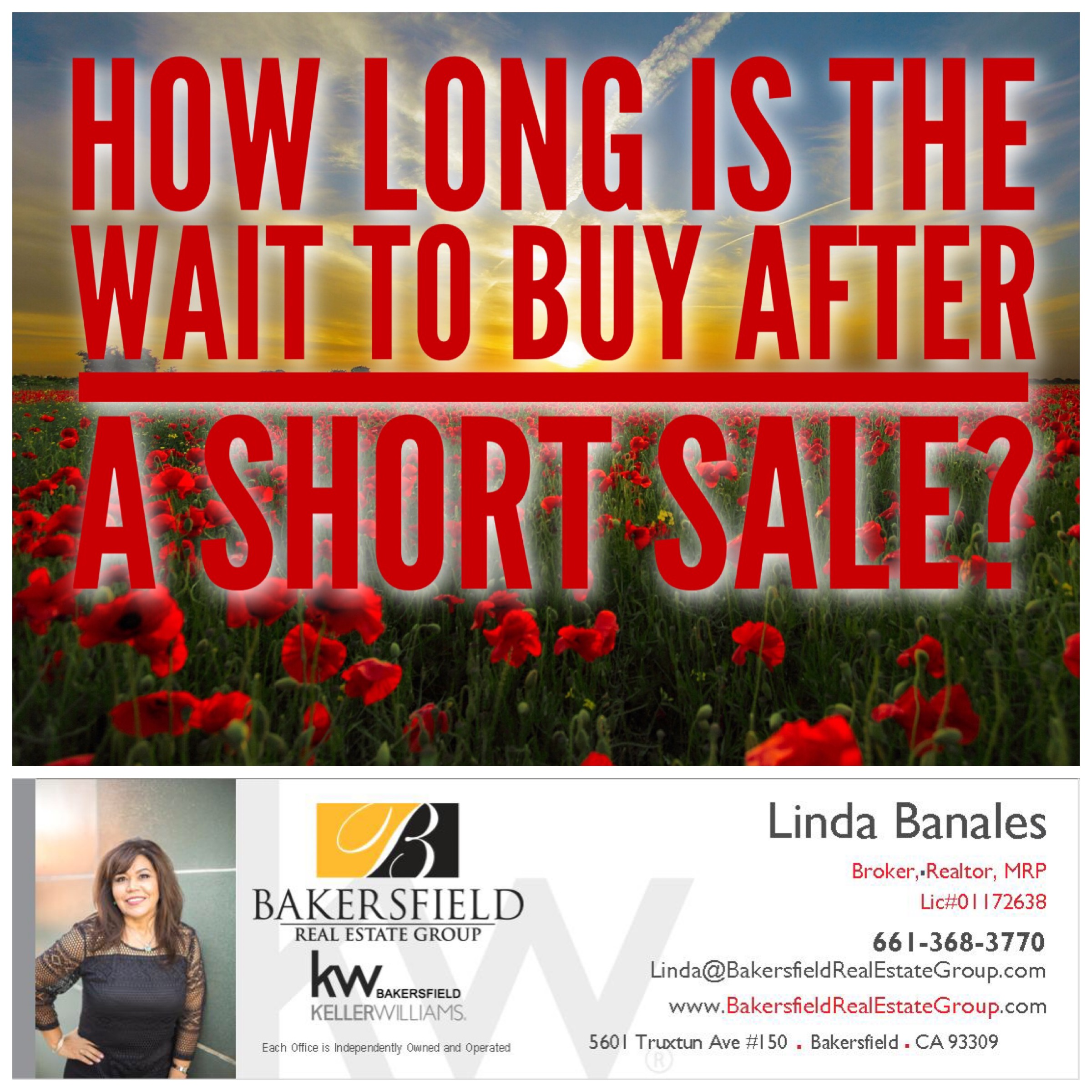 Buying a home after a Short Sale. Bakersfield realtor Linda Banales 661-368.3770