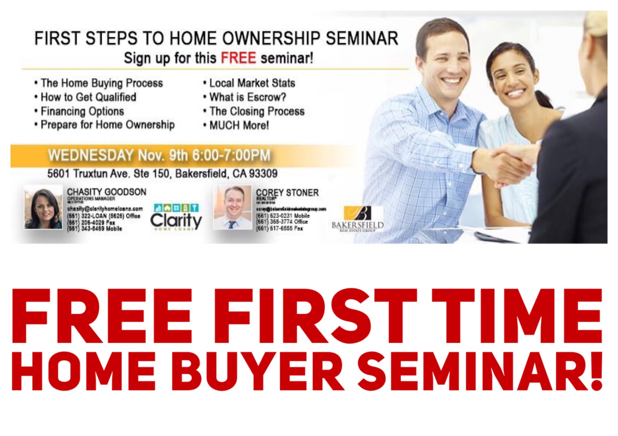 Bakersfield Real Estate Experts - FREE Home Buyers Seminar 661-704-4244