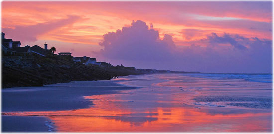 Image of the sunrise from the south end of the beach  on Fripp Island