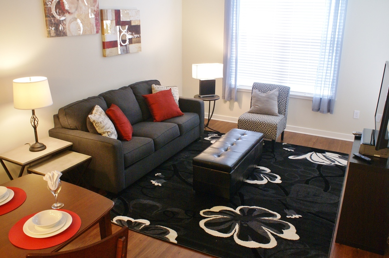 grey sofa with red pillows, black floral rug, lamp, end table, small dinette