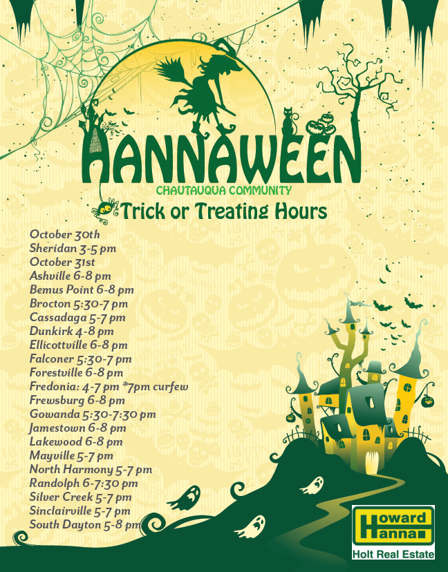 Chautauqua County Trick or Treat Times