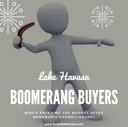 Lake Havasu boomerang buyers are former foreclosure homeowners who have seen enough time pass that their foreclosure doesn't affect their credit rating, allowing them to re-enter the housing market.