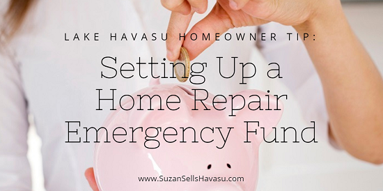 The general rule of thumb for setting up a home repair emergency fund is 1% of your purchase price each year. That percentage increases as your Lake Havasu home ages.