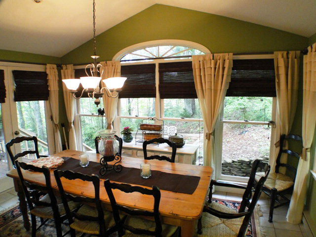 This beautiful dining room has lots of light and double doors leading to a grill deck, Franklin NC MLS Search, Mountain Real Estate