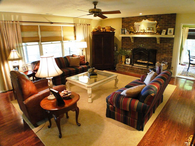Large living room with wood floors and fireplace, Franklin NC Homes for Sale, Clarks Chapel