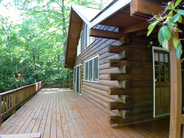Decks galore to enjoy the rushing creek, Franklin NC Log Cabin, Keller Williams Franklin NC