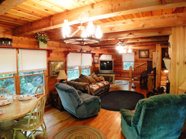 Check out the gorgeous wood floors and walls in this Log Home near Franklin NC, Highlands NC Real Estate, Free MLS Search