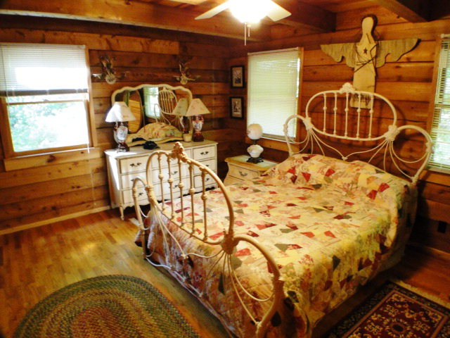 2 large beautiful bedrooms, Smokey Mountain Log Cabin for Sale, Franklin NC Real Estate, Highlands Realty