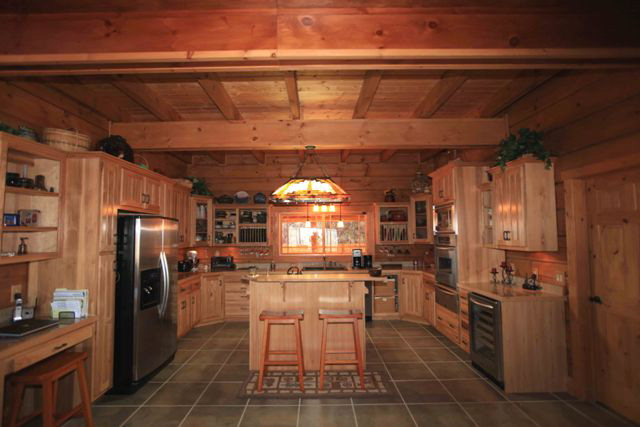 Custom hickory kitchen cabinets and granite counter tops, Log Home Franklin NC