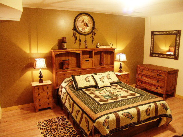 One of FOUR beautiful bedrooms in the cabin so there's plenty of room for everyone, Summit Road Otto NC, Log Cabin for Sale in Otto NC
