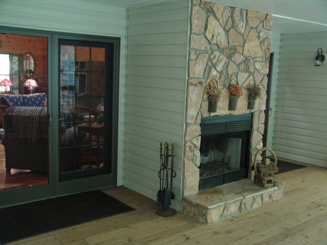 Care to sit on the porch by the fireplace?  Wow!  Franklin NC Estate, Home for Sale