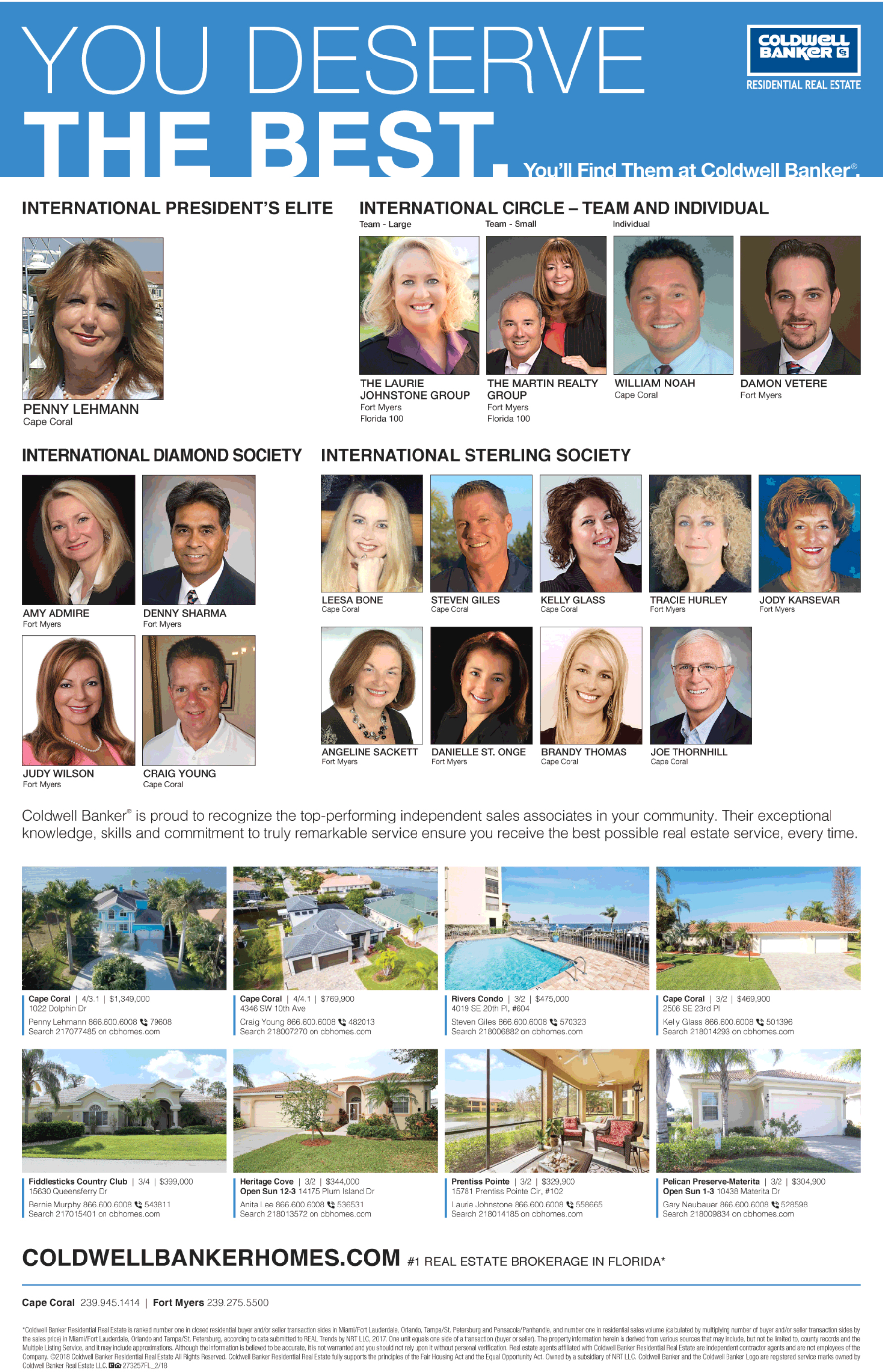 Coldwell Banker Southwest Florida Presidential Awards to Top Agents