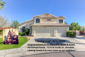 Glendale AZ Single Family Home SOLD - Happy Buyers!: $450,000