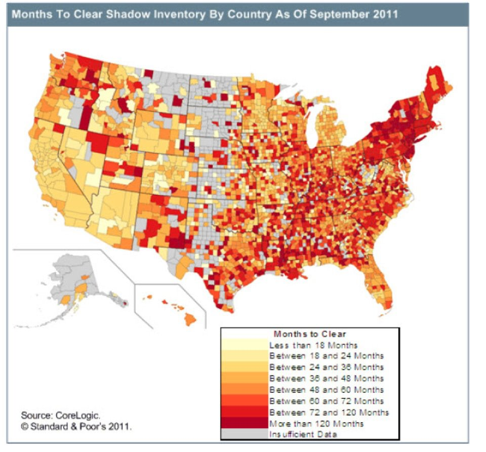 Nationwide County Diagram of Shadow Inventory showing months of supply