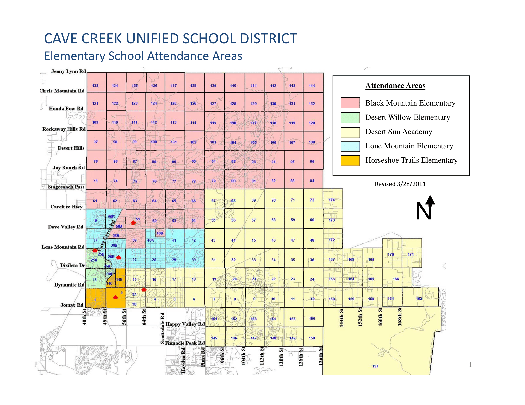 Cave Creek USD Elementary School Boundary Map