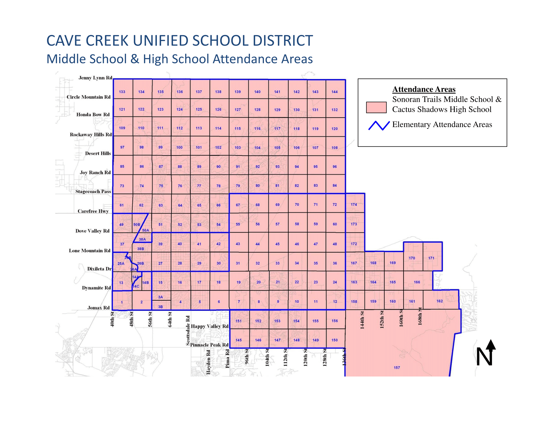Cave Creek USD Middle School Boundary Map