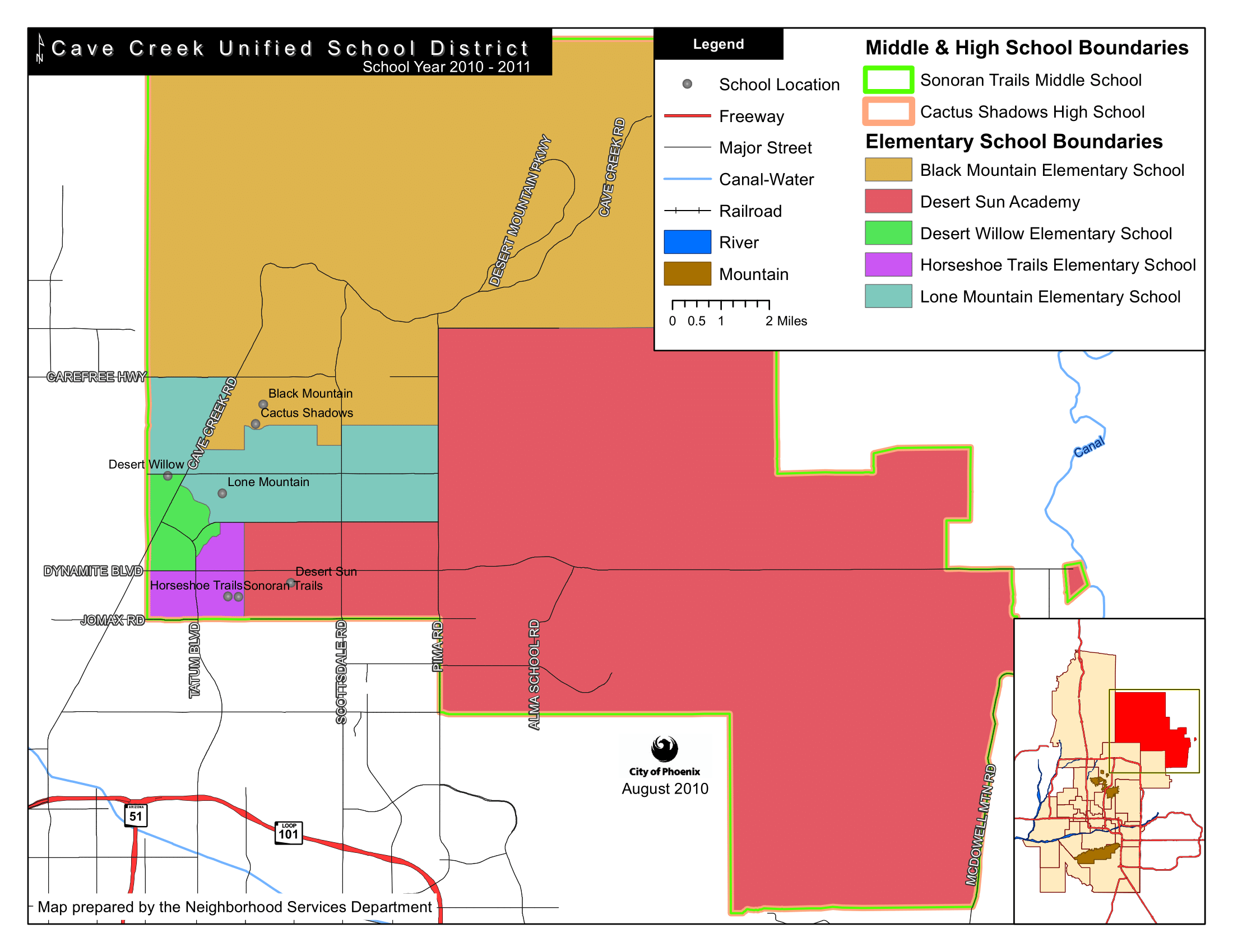 Cave Creek USD Combined Elementary, Middle and High School Boundary Map