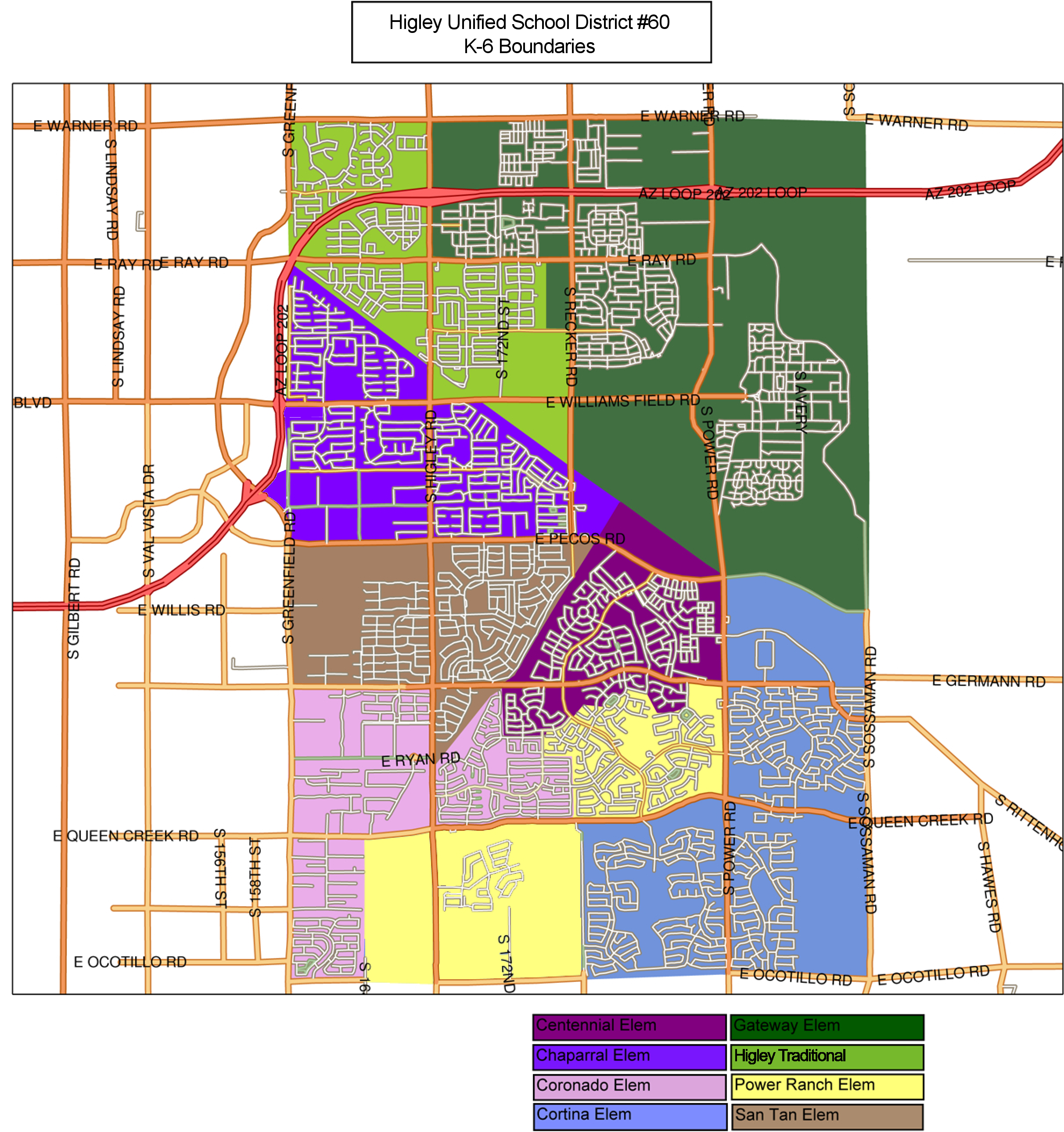 Higley USD Elementary School Boundary Map