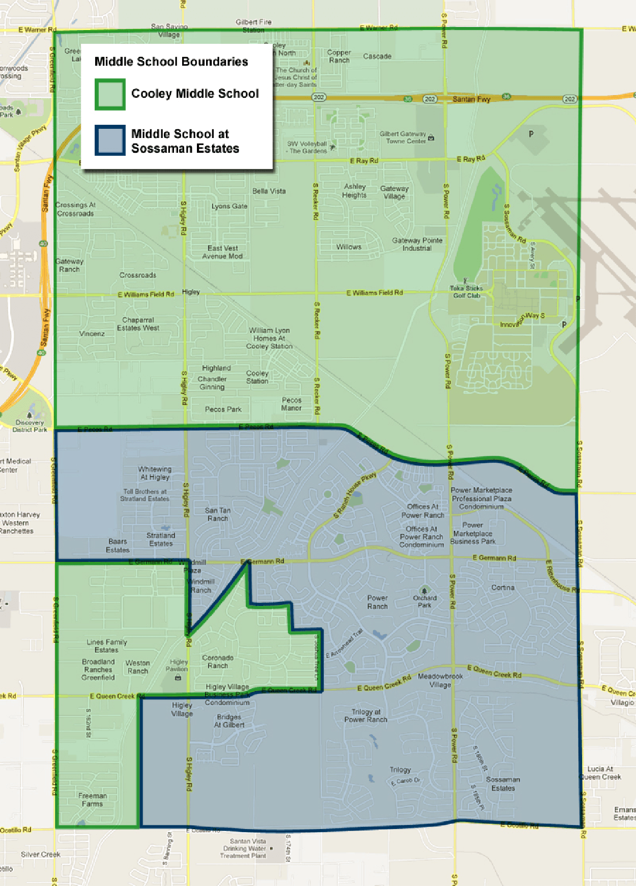 Higley USD Middle School Boundary Map
