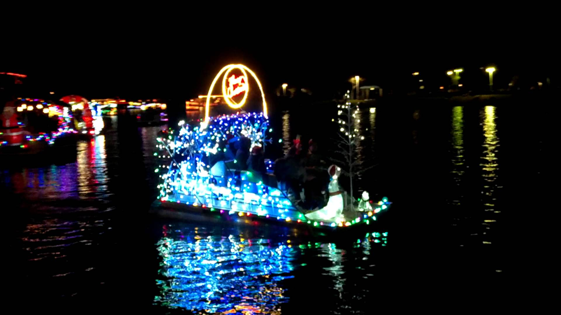 Electric boat on display at the Islands in Gilbert, AZ during Christmas Boat Parade