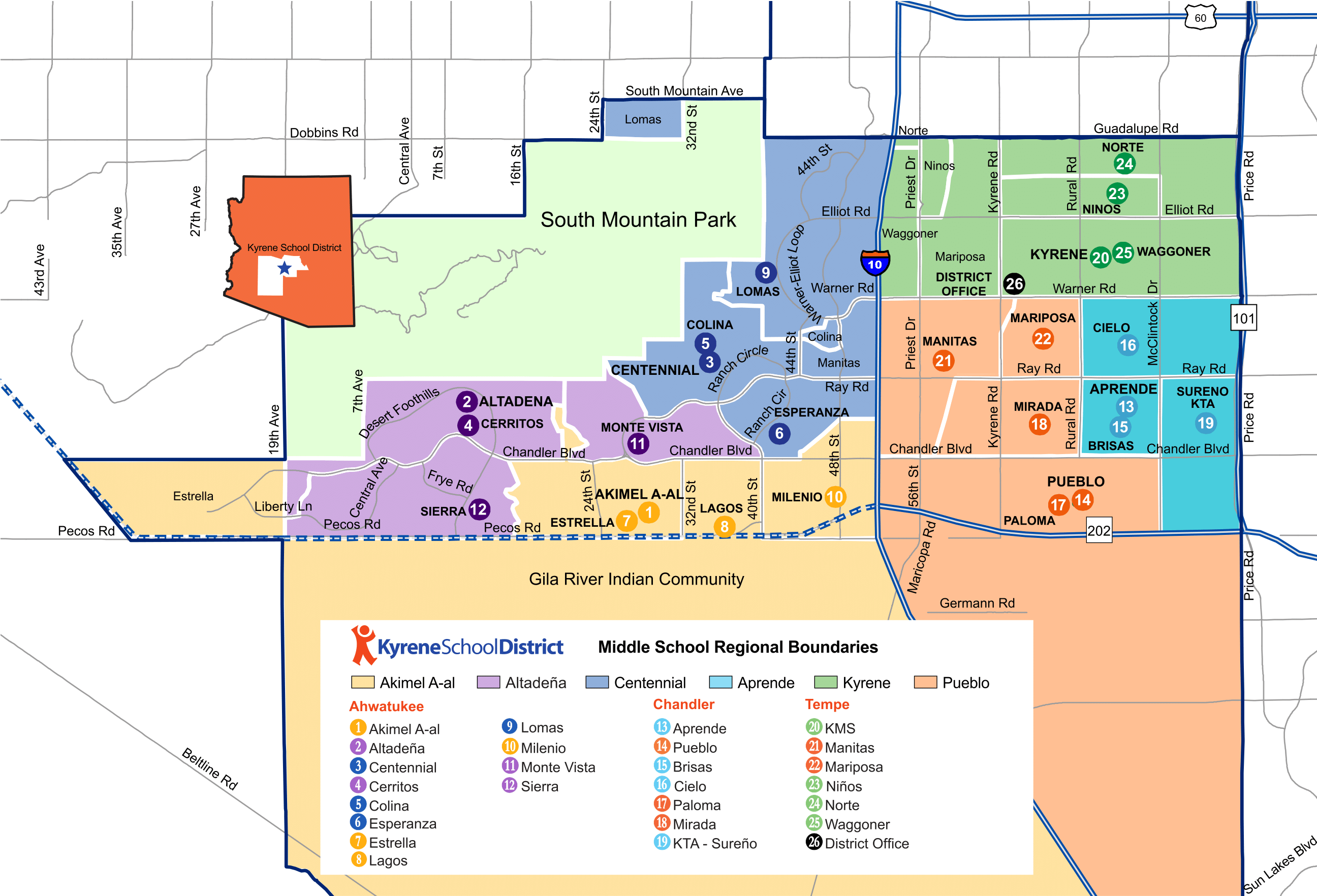 Kyrene Elementary School Boundary Map for Chandler, Ahwatukee and Tempe, AZ