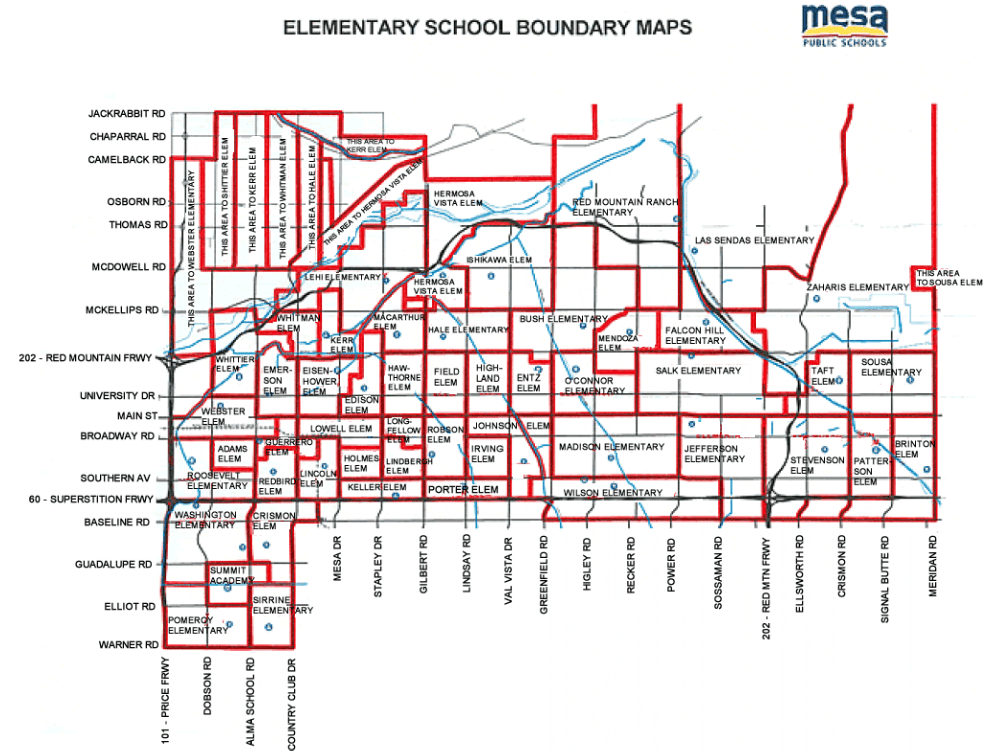 Mesa AZ Unified School District School 2019 - 2020 Boundary Maps